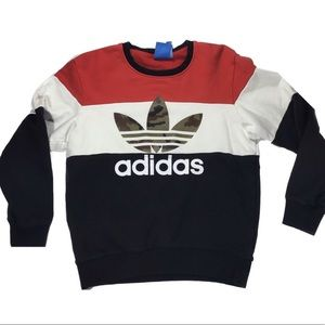 Adidas color block camouflage  crew neck sweater